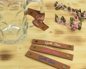 Besticktes Maßkrugband 'Geile Sau' aus Filz für den Henkel - Masskrugband