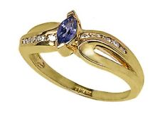 14k Yellow Gold Ring with 6x3 Marqee Tanzanite with 10 Diamonds.size 7   (R680)
