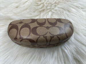 Authentic Coach Signature Hard Brown Clamshell Sunglasses/Glasses Case