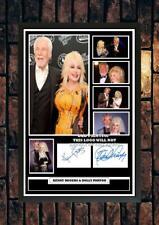 More details for (362) kenny rogers & dolly parton signed photograph framedunframed (reprint) ***