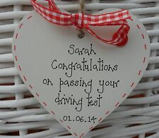 PASSING DRIVING TEST KEEPSAKE GIFT SHABBY WOODEN HEART CHIC PERSONALISED