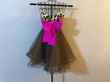 Sherri Hill 1218 Leopard Print Tulle Pink Bow Baby Doll Dress FLAW