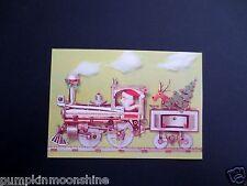 Vintage Unused Xmas Greeting Card Santa in Steam Punk Steam Train Toy with Deer