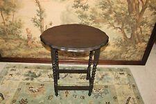 Beautiful Antique English Dark Oak scalloped Barley Twist Lamp Table /End Table.