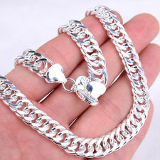 18K White Gold Plated GP 10mm Very Wide 20 inch Curb Link Chain Necklace H482