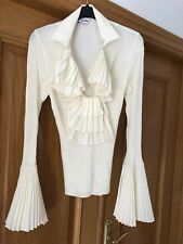 MOSCHINO Cream Pleated Blouse TopIT 40 UK 8