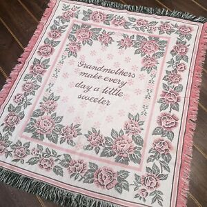 Vintage 'GRANDMOTHERS' Pink Roses Woven Tapestry Effect Blanket/Throw