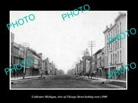 OLD LARGE HISTORIC PHOTO OF COLDWATER MICHIGAN, VIEW OF CHICAGO St & STORES 1900