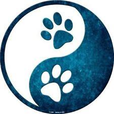 "Dog Paw Prints Yin and Yang Symbol 12"" Round Metal Sign Novelty Home Wall Decor"