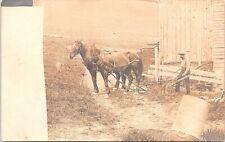 RPPC Farm Scene Man Guiding Horse-Drawn Wooden Plow early 1900s