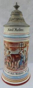Humpen Bierkrug Zunftkrug Metzger Bad Nauheim 1912 Handwerker Sammelkrüge