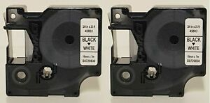GENUINE Dymo 45803 D1 Black & White 2 x 19x7mm Vinyl Label Tape BRAND NEW NO BOX