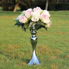 315mm Pillar Candle Holder Metal Candlestick Wedding Flower Vase Rack Silver