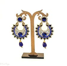 Zircon Studded Bollywood Dangler Earrings Fabulous Partywear Royal Blue Shining