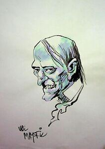 "VAL MAYERIK Signed UNCLE CREEPY Creepy Magazine Hand Painted Comic Art 8""x11"""