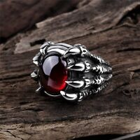Drachen Klaue Retro Punk Goth Tolle Schwarz Rot Stein Ring Re