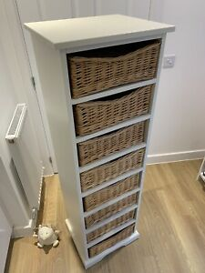 Wicker basket storage tower from The Cotswold Company - 8 shelves, white unit