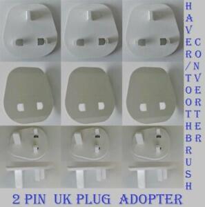 Shaver Plug Adaptor Shaving Toothbrush Epilator Bathroom UK 2 To 3 Pin Converter