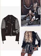 Zara studed embroidered Biker Leather Jacket chaqueta campera de cuero bordados perlas M