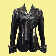 GIANFRANCO FERRE Women Black Leather Jacket