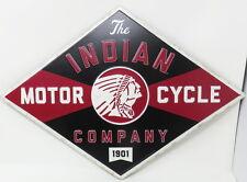 Indian Motorcycle Diamond Shaped Embossed Metal Sign 1901 Chief Harley Hog