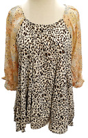 Umgee 3/4 Ruffle Cuffed Sleeve Baby Doll Top XL 1XL Women's NWT Leopard Floral