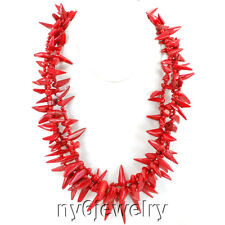3 strands Red Natural Sea Coral Chili Nugget Huge Silver Clasp Necklace 21-23''