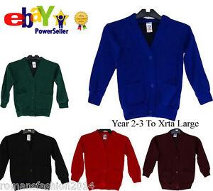 New Kids Children Boys Girl School Uniform Fleece Sweat Cardigan Only Uniform UK