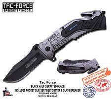 Tac Force Folding Knife Air Force Black Serr. Blade Glass Gutter Clip TF-688AF