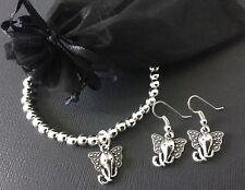 Bijoux Lucky Elefante con cuentas pulsera elástica y Pendientes Conjunto de Regalo