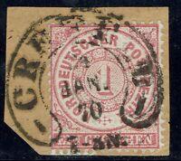 Norddeutscher Bund Einzelmarke 16 gestempelt mit Crefeld vom Jan. 70, Hufeisenst