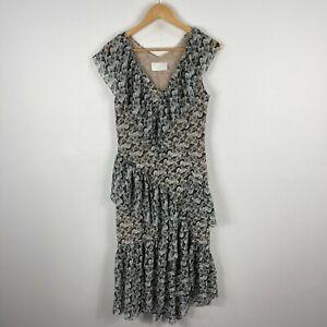 H&M Conscious Exclusive Dress US 6 AU 10 Multicoloured Floral Tiered