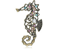 Abstract Art Antique Design Colorful Crystal Rhinestone Seahorse Pin Brooch Gift