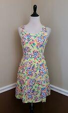 NWT Modcloth Dress M Yellow Floral Sundress w Pink Orange Blue Doe & Rae Retro