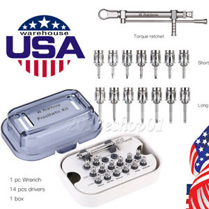 Dental Implant Torque Wrench Ratchet 10-70NCM with Drivers & Wrench Kit