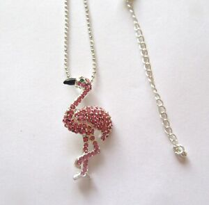 Fashion Necklace &  Pendant- FLAMINGO- Austrian crystals- pink -silver chain