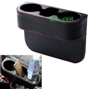 1x Car Interior PU Black Red Line Water Holder Box Frame Trim For Toyota Model