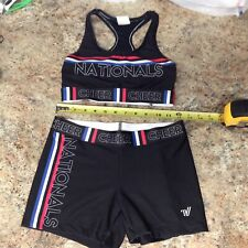 NATIONALS Varsity Competition Adult SML Cheer Cheerleading sports bra top shorts
