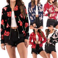 Fashion Women's Retro Floral Zipper Bomber Jacket Clothes Casual Coat Outwear US