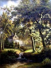 Landscape with a Cottage and Brook, Quality Hand Painted Oil Painting 30x40in