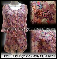 LAURA for TOPSHOP LEES PINK PURPLE FLORAL EMBROIDERED 60s TUNIC DRESS UK 6 8 S