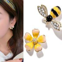 Delicate Asymmetrical Bee Flower lady Stud Earring Girl Ear Stud Fashion Jewelry