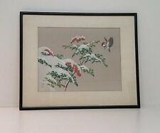Asian Bird Winter Acrylic Framed 23x19