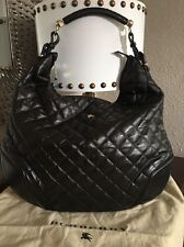 BURBERRY PRORSUM BROWN QUILTED LEATHER  HOXTON HOBO SIZE XL MADE IN ITALY $1399