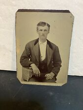 ANTIQUE AMERICAN tintype photo young man in a suit