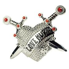 "Belt Buckle Heart Daggers ""Love Hurts"" with Rhinestones"