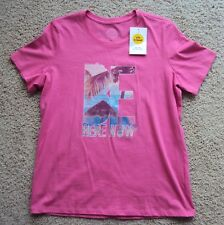 "NWT Women's Life is Good Tee Scoop Neck ""Be Here Now"" Hot Pink Medium MSRP $24"