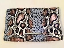 H&M Snakeskin Print Patterned Clutch Bag Multi Large Purse