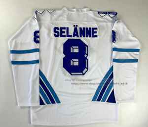 Throwback 2002 Teemu Selanne Team Finland Hockey Jerseys White Blue Custom Names