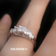 Genuine Solid 9ct White Gold Engagement Wedding 5 Stones Ring Simulated Diamond